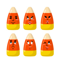 Corn candy emotions sweets evil and good bonbon vector