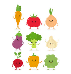cute happy smilig raw vegetable collection vector image vector image