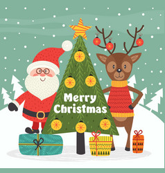 merry christmas card with santa claus and deer vector image vector image