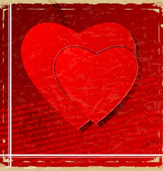 Red heart on vintage background vector image