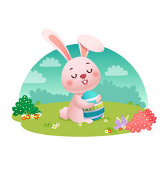 a rabbit holding an easter egg vector image
