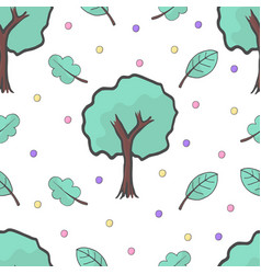 a seamless pattern with tree leaves and colorful vector image