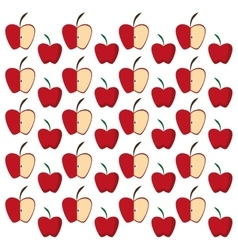 Apples half fruit tasty seamless pattern vector