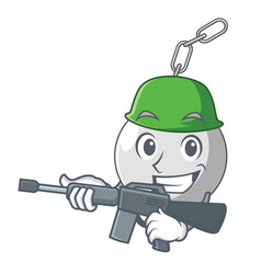 Army wrecking shattering ball on wall cartoon vector