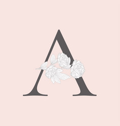 blooming floral initial a monogram and logo vector image