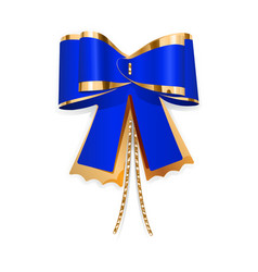 Blue and gold bow vector