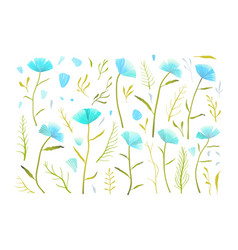 blue flowers romantic collection separate vector image