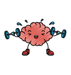 Brain with weight lifting kawaii character vector