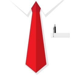 Business man shirt with red tie vector image