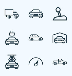car icons line style set with speedometer vector image