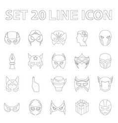Carnival mask outline icons in set collection for vector
