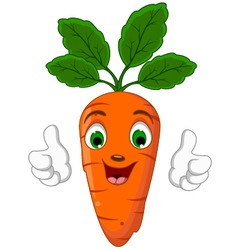 Cartoon Carrot Character giving thumbs up vector