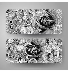 Cartoon cute doodles wedding banners vector image