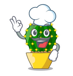 Chef character mammillaria cactus at cactus farm vector