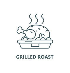 Chicken dishgrilled roast line icon vector