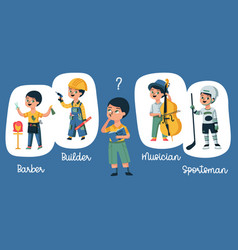 child choosing profession composition vector image
