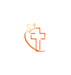 christian cross bird logo vector image