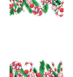 Christmas candies with pine leaves watercolor vector