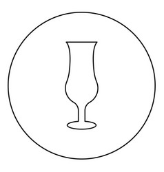 Cocktail glass icon in circle round outline black vector