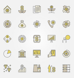 colorful investment icons vector image