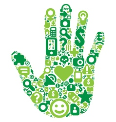 Concept of green human hand vector image vector image