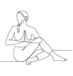 Continuous line drawing woman practicing yoga vector