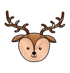 cute deer face cartoon vector image