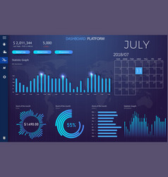 Dashboard infographic template with modern design vector