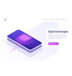 Digital technologies data processing isometric vector