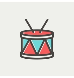 Drum with stick thin line icon vector image