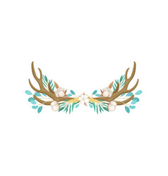 Feathers and cotton decorate antler vector