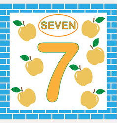 Flashcard with number 7 seven education vector