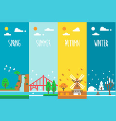 flat design 4 seasons holiday vector image