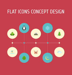 flat icons beauty insect winter snow foliage and vector image