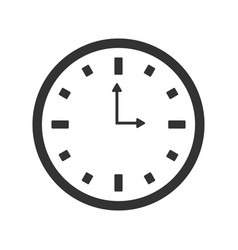 flat watch icon silhouette time web clock vector image