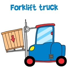 Forklift truck cartoon art vector image