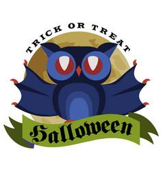 funny cartoon logo halloween owl flat poster vector image