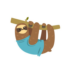 funny sloth hanging on the tree lazy exotic vector image