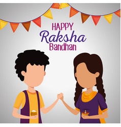 Girl and boy siblings with party banner decoration vector