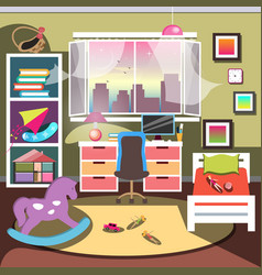 Girls bedroom interior vector