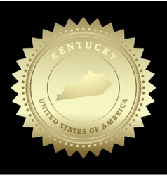 Gold star label Kentucky vector