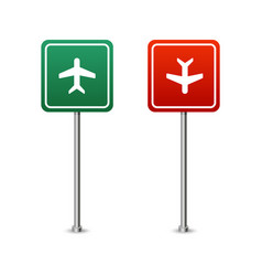 green and red highway sign with a plane board vector image
