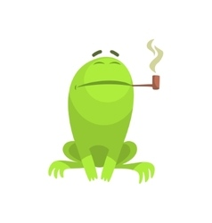 Green Frog Funny Character Smoking A Long Pipe vector