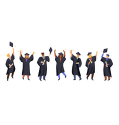 Group graduate students wearing gown vector
