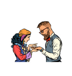 Gypsy palmist and hipster isolate on white vector