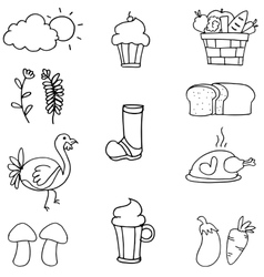 Hand draw thanksgiving set on doodles vector