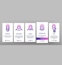 Hijab onboarding icons set vector