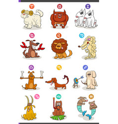 horoscope zodiac signs set with comic dog vector image