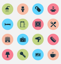 hotel icons set with tv lamp key and other light vector image
