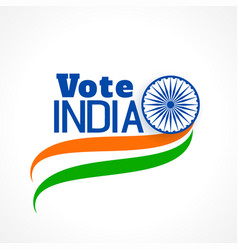 indian election banner with tri color flag vector image